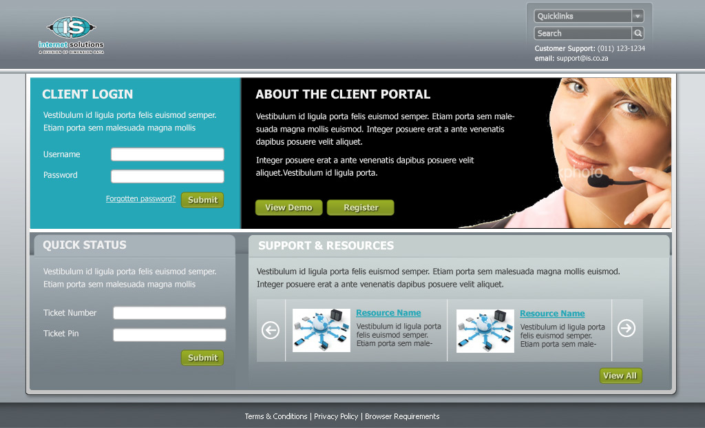Internet Solutions: Client Zone