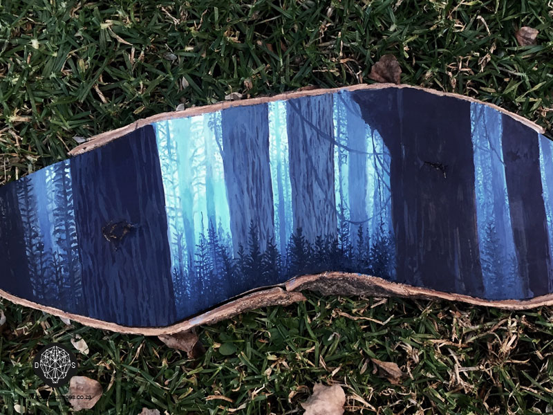 Forest Painting on Wood Slice