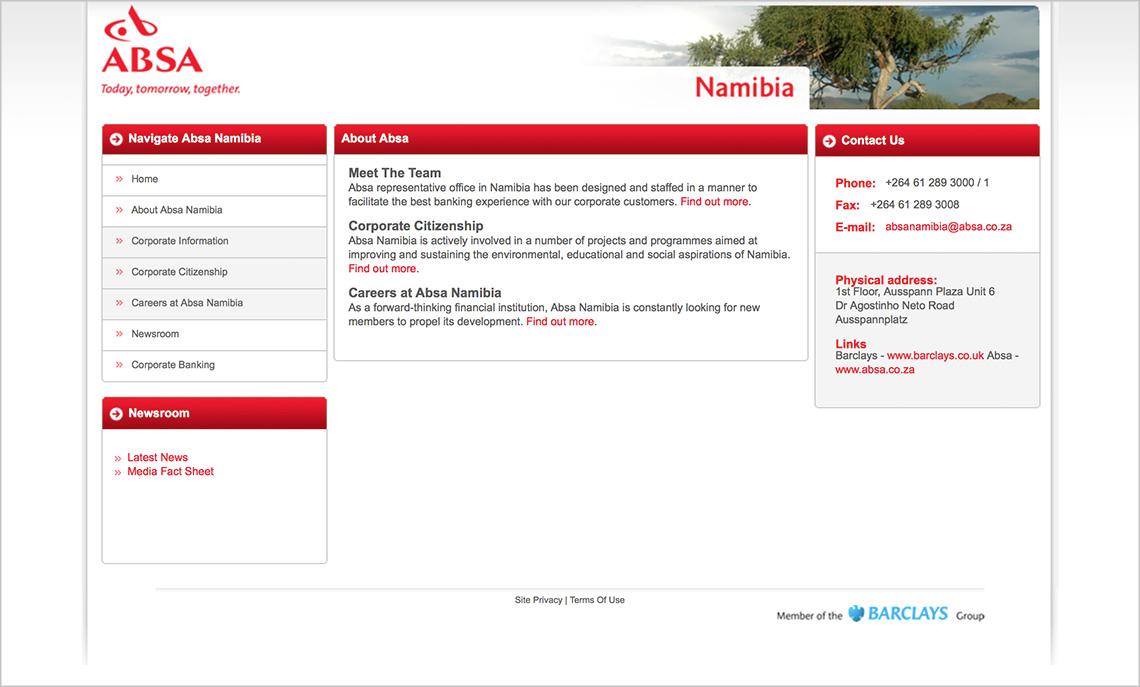 Website design – Absa Namibia
